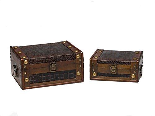 Juego de 2 Maletas de Madera Caja de Madera de Estilo Antiguo nostálgicos