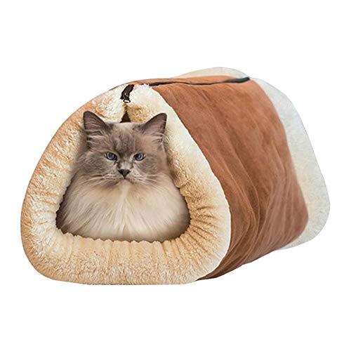 Janjunsi Mascota Gato Perro Dormido Bolso - 2 en 1 Cueva Mimosa Plegable Cómodo Gato Cueva Cama Cama Gatos Casa con Vellón