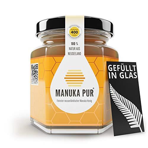 MANUKA PUR - Premium Manuka Honig aus Neuseeland - 100% reiner Manuka-Honig ohne Zusatzstoffe - Überprüfter Methylglyoxal Gehalt - Laborgeprüfte Qualität (MGO 400+, 500g)