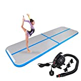 Polar Aurora 9.84ft/13.12ft/16.40ft/19.68ft Air Track Inflatable Tumbling Mat for Gymnastics with Electric Air Pump for Practice Gymnastics (Blue, 09.84 x3.28 x0.33ft)