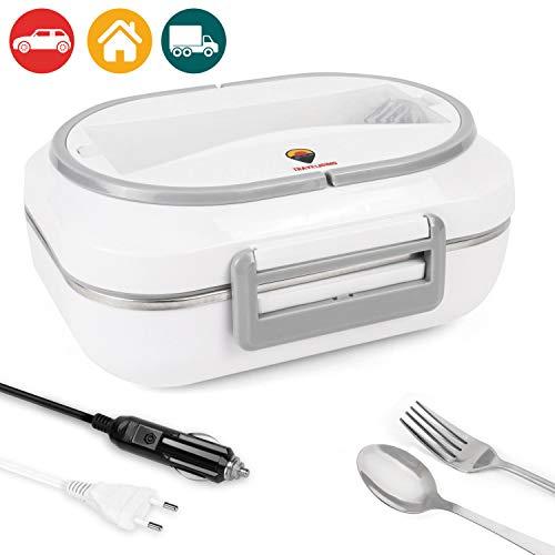TRAVELISIMO 2 in 1 Elektro-Lunchbox für AutosLkw und Arbeit 220V 12V 40W Edelstahl-Kochplatte 1L Kegel mit Gabel-Löffel inklusive und 3 Fächern