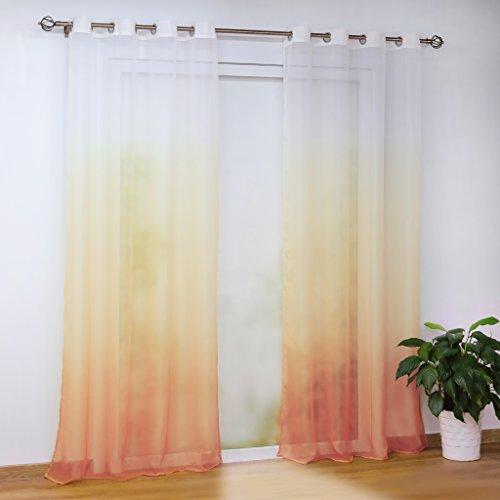 Joyswahl Voile Gardine halptransparenter Vorhang mit Topaktuelle Farbverlauf Muster »Babette« Schals Fenster Vorhänge mit Ösen BxH 140x225cm Orange 1er Pack