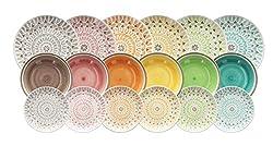 Servizio tavola 18 in stoneware Stoneware Trendy e d'impatto Esplosione di colori Resistente in lavastoviglie e microonde