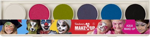 Kreul 37073 - Fantasy Aqua Make Up Schminkkasten Fresh Colors mit 6 Farben und 2 Pinseln