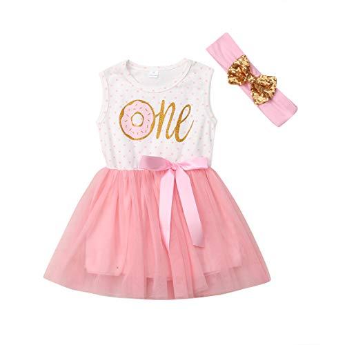 Geagodelia Ropa para bebé, vestido de princesa de cumpleaños para niña, 0 – 3 años, My First Birthday 2 unidades con banda de tutú