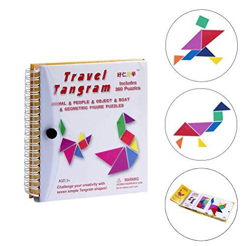 Reizen Tangram puzzel - Road Trip patroon blokken Jigsaw Shapes dissectiespellen met oplossing - IQ-boek educatief speelgoed Denktaak cadeau voor kinderen Challenge