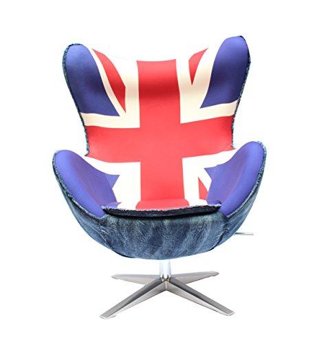 Plushdeco Dipinto a Mano Unionjack Eggchair (Replica) Sedia Girevole Poltrona Aluminum/Union Jack–Club sedie–Sedia Relax