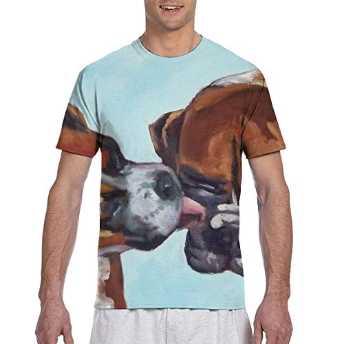 Zhgrong Männer T-Shirts Boxer Hunde Baumwolle Kurzarm T-Shirts Rundhals Athletic Tees Tops
