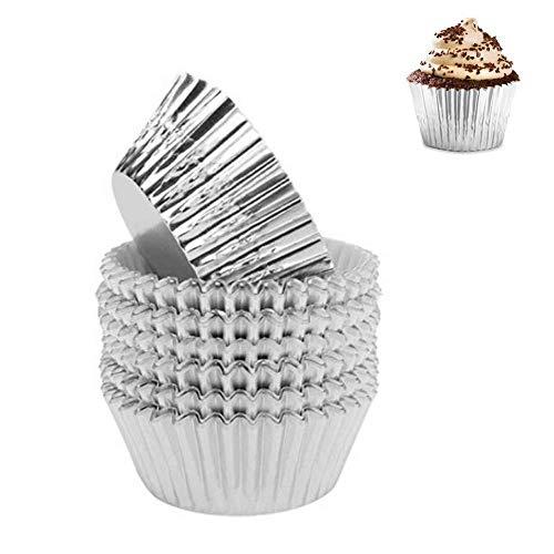 Heatigo Backförmchen für Cupcakes Muffin-/Cupcake-Förmchen aus Metallfolie, Durchmesser 5 cm, 100 Stück Silber