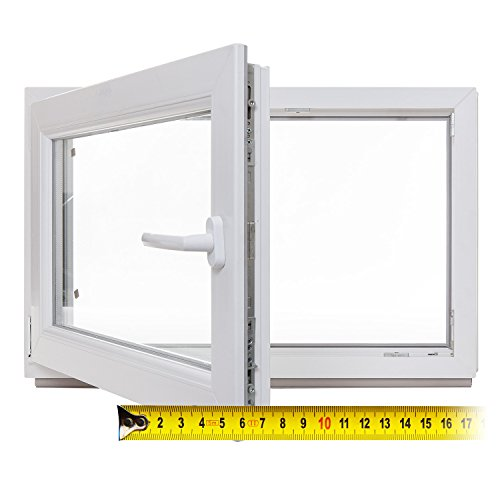 Kellerfenster - Kunststoff - Fenster - weiß - 3-fach-Verglasung - BxH: 65x40 cm - DIN rechts - 60mm Profil - verschiedene Maße - schneller Versand