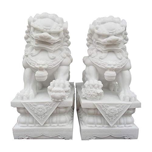 Par de leones grandes, estatuas de perros Fu Foo (un par), piedra de mármol blanco, decoración de Feng Shui chino, accesorios de prosperidad, estatuilla, escultura de jardín para el hogar y la oficina