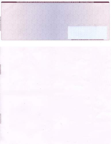 """500 Blank Check Stock - Check on Top Burgundy/Blue Cubed - Paper Weight # 28""""High Security"""""""