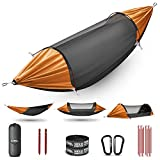 ETROL Hammock, Upgrade Double & Single Camping Hammock with Mosquito Net, Tree Straps, Carabiners, Aluminium Poles, 3 in 1 Function Portable Hammock for Outdoor Hiking Patio Travel—Black & Orange