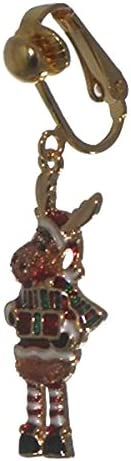 CHRISTMAS MOOSE gold plated Clip On Earrings