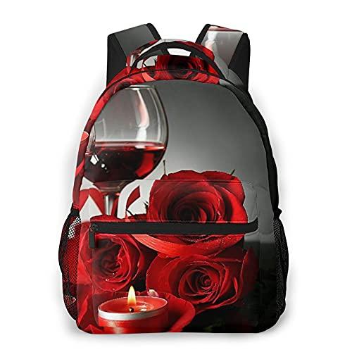Nongmei Mochila de viaje para portátil,vino tinto en vasos,rosa roja y corazón decorativo en la oscuridad,mochila antirrobo resistente al agua para empresas,delgada y duradera