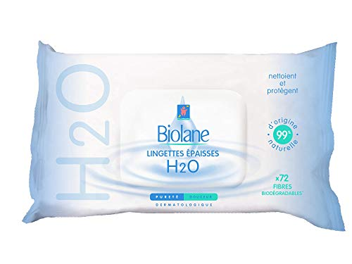 Biolane lingettes nettoyantes épaisses H2O ecorecharge - 72 lingettes peau sensible en fibres biodégradables