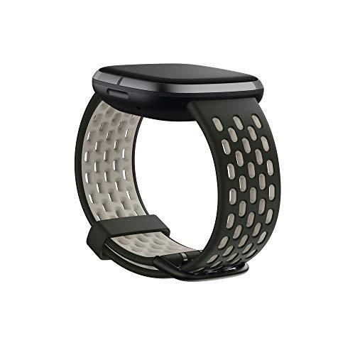 Fitbit Versa 3/Sense Watch Strap Unisex-Adult, Vert Kaki/Blanc Lunaire, Small