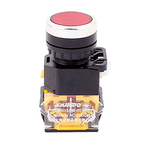 Aexit Red Button Shaft Collars 4 Terminal DPST Momentary Emergency Stop Push Heat Shrinkable Shaft Collars Button Switch
