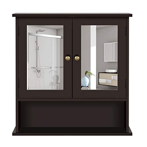 YAHEETECH Bathroom Wall Mount Medicine Cabinet with 2 Mirror Doors and Adjustable Shelf, Wooden Storage Cabinets Organizer for Kitchen, Accent Home Furniture, Espresso