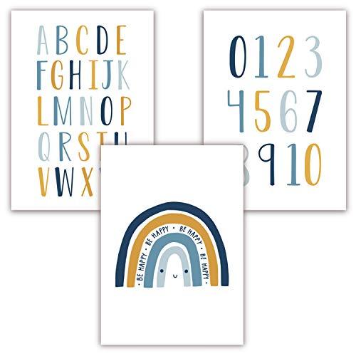 Pandawal Kinderzimmer Deko Bilder 3er Poster Set Baby ABC Zahlen Buchstaben Regenbogen Babyzimmer Junge und Mädchen Senf Blau Grau (R15)