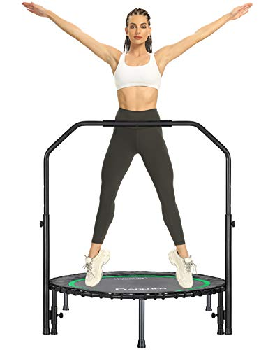 DARCHEN 450 lbs Mini Trampoline for Adults, Indoor Small Rebounder Exercise Trampoline with Handrail for Workout Fitness, 450 lbs Max-Load Bungees for Quiet and Safely Cushioned Bounce[40 Inches]