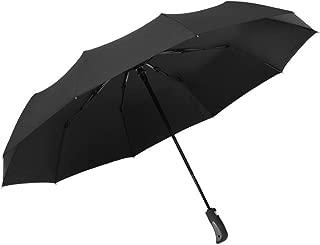 SHANGRUIYUAN-Umberllas Automatic Travel Umbrella with 10 Reinforced Fiberglass Ribs Windproof Durable Sun Block Rain Guard Windproof (Color : 02 Black, Size : Free)
