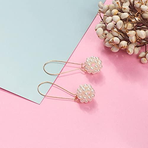 CloverGorge Moda Minimalista Moda Creativa Joyería Exquisita Simple Sección Larga Pendientes Colgantes de Perlas de Onda Salvaje