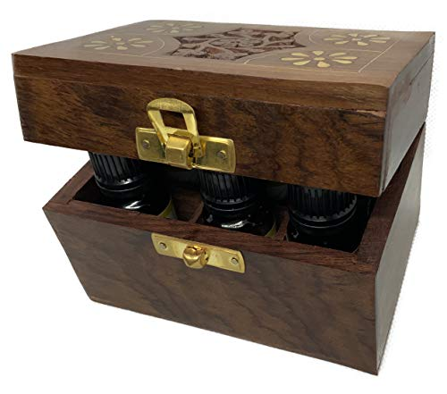 Mind Power Premium Essential Oils Set of 6x10ml in Hand-Carved Wooden Box use with Coconut Oil, shea Butter, jojoba & Almond Oils for Aromatherapy Oil Diffuser, Oil Burner or Beard Oil