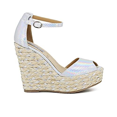 QUEEN HELENA Sandalias elegantes de verano con cuña de punta abierta plateadas con correa en el tobillo, cómodas Plateado Size: 40 EU