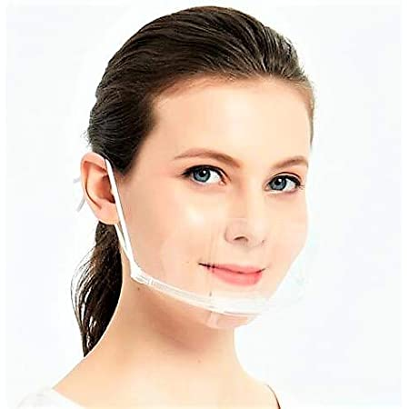 【BIO】マウスシールド クリスターマスク 10枚セット ホワイトフレーム 飛沫防止 男女兼用 フリーサイズ 笑顔が見えるマスク 業務用 調理用 (10枚入ホワイト)