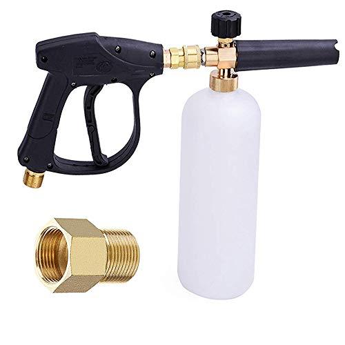 Lanza de Espuma de Nieve Pistola de Espuma, Ajustable 1/4 pulgada Rápida Liberación Dispensador de Jabón 1L Botella con M22 14mm a 15mm Adaptador para Lavado a Presión (con pistola de espuma)
