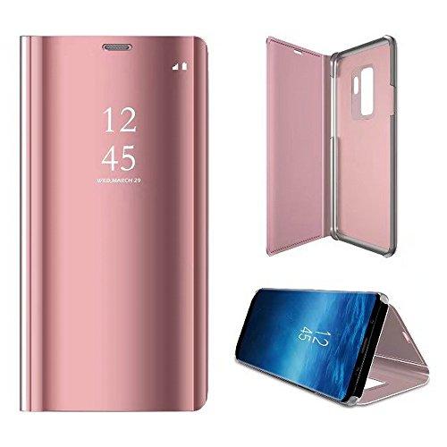 2ndSpring Coque pour Samsung Galaxy S9,Flip Miroir Coque Dur PC Plastique Housse Plating Case Transparente Standing View Cover Etui pour Galaxy S9,Rose Or