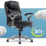 Serta AIR Health and Wellness Executive Office Chair High Back Big and Tall Ergonomic for Lumber Support Task Swivel, Bonded Leather, Mid Black