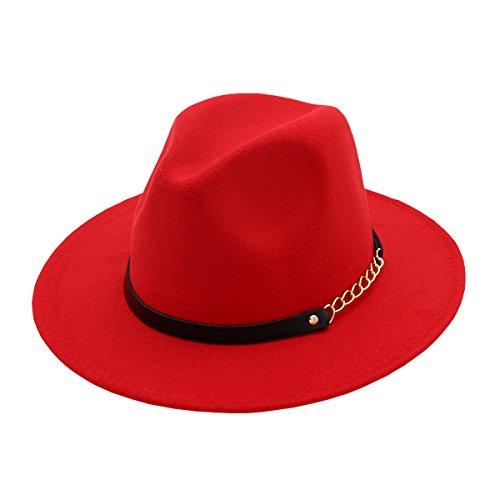 AHATECH Donna Ampia Brim lana di feltro Fedora berrettopello Panama berretto Taglia unica Rosso