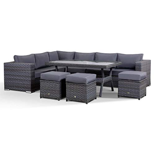 Club Rattan Isobella Corner Sofa with Dining Table and 3 Stools in Wide Grey Rattan