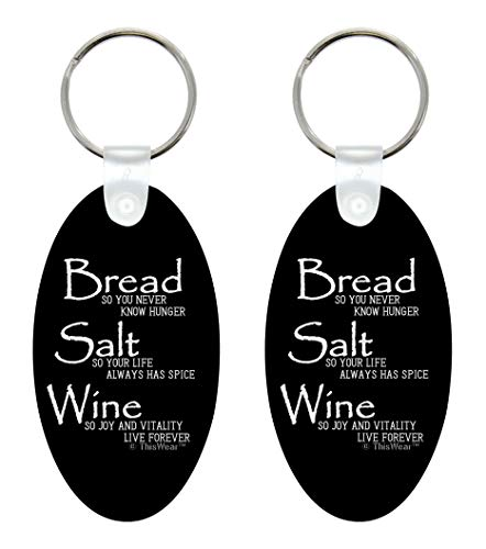 ThisWear Real Estate Closing Gift for Women Wonderful Life Quote Bread Salt Wine 2-Pack Aluminum Oval Keychain