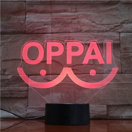 jiushixw 3D acryl nachtlampje met afstandsbediening kleur tafellamp volwassenen trop Japanse persoonlijkheid cool fun gas licht stijl tafellamp