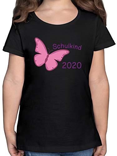Einschulung und Schulanfang - Schulkind 2020 Schmetterling - 140 (9/11 Jahre) - Schwarz - Geschenke Schulanfang mädchen - F131K - Mädchen Kinder T-Shirt