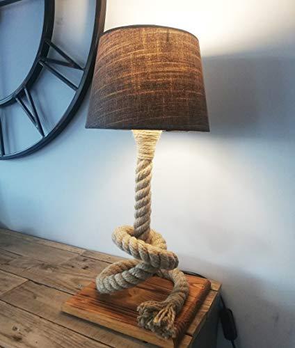 Solenzo - Lámpara de noche de madera y cuerda con bombilla LED