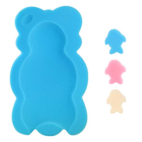 KECUCO Baby Bath Cushion Infant Bath Sponge Bath Mat, Baby Bath Pad Bath Sponge for Toddler Infant Newborn (Blue-Style4)