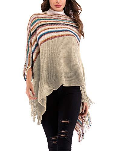 BIRAN Sweter swetry sweter dzianina sweter dzianina damskie ponczo unikalny top sweter topy topy jesień zima damskie eleganckie retro wyprzedaż paski nieregularne asymetryczne frędzle