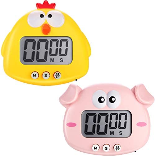 2 Pieces Kitchen Timer Animal Digital Countdown Timer Magnetic Timers LCD Display Cute Cartoon product image