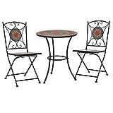 E E-NICES Set Mesa y sillas bistró 3 Piezas Mosaico cerámica Naranja/Gris
