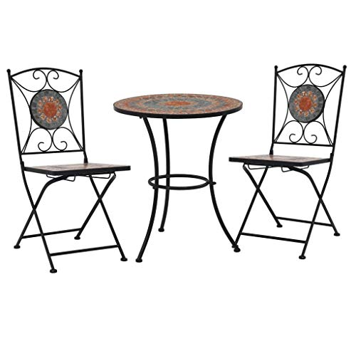Festnight 3 Piece Mosaic Bistro Set, Garden Furniture Set, Folding Coffee Table and Chairs for Patio or Balcony, Ceramic Tile Orange/Grey