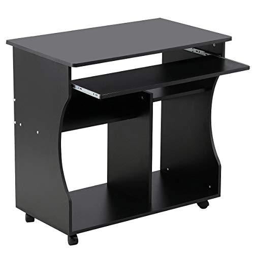 Yaheetech Mesa de Ordenador Mesa de Computadora Moderno con Ruedas para Oficina Hogar Mesa de Escritorio 80x 48 x 76 cm Negro