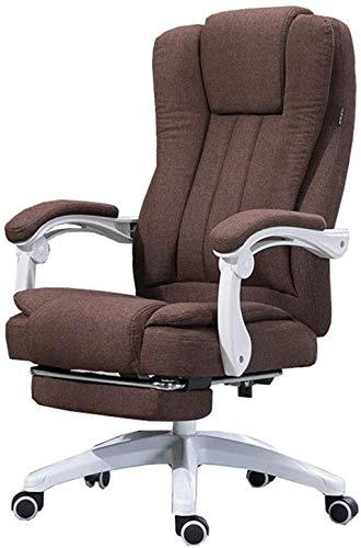 Bürostuhl, Computerstuhl, Schreibtischstuhl, 150° neigbar, Design mit Doppelrücksitz, Chefsessel (Farbe: Braun)