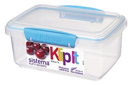 Sistema 1 Litre Polyproplene Food Storage Container (blue)