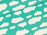 Swafing Baumwolljersey Verena Wolken weiß auf Mint