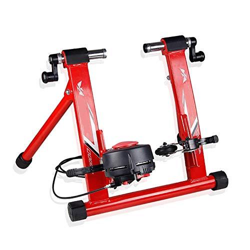 D&F Rullo per Bicicletta per Allenamento in Casa, Rullo per Allenamento Magnetico Pieghevole, Rulli da Allenamento Trainer per Bicicletta per Ruota da 26'- 28',Rosso