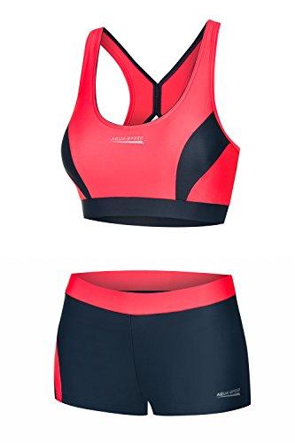Aqua Speed Sportbikini Set I Zweiteiler I 2-Piece Swimsuit Women Girls I Bademode I Sport Bikinis I Schwimmbekleidung für Frauen Mädchen I Strand I Beachwear I Gr. 34, Rot-Grau I Fiona